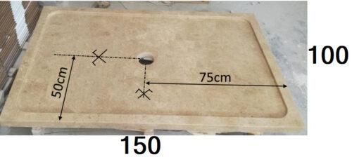 150 x 100 bac à douche en travertin