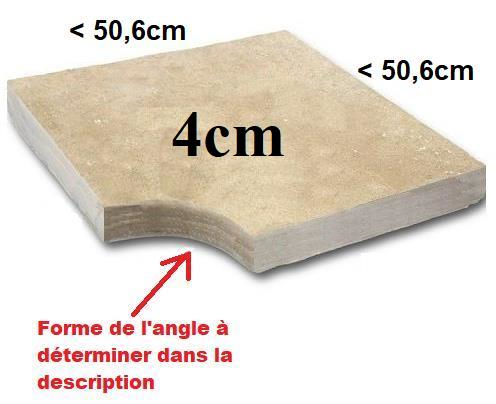 Angle margelle Travertin 4cm