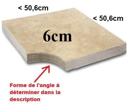 Angle margelle Travertin 6cm