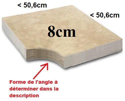 Angle margelle Travertin 8cm