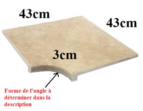 Angle margelle évidé TRAVERTIN