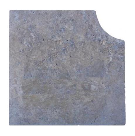 Angle margelle travertin gris silver
