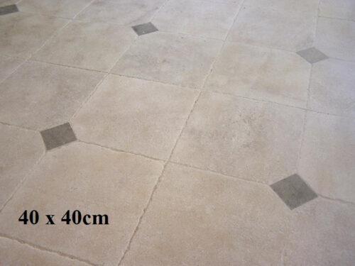 Dallage pierre 40x40cm avec cabochon