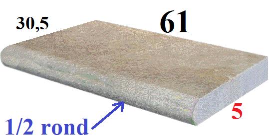 Margelle 61x33cm épaisseur 5cm et 1-2 rond