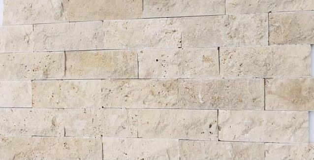 Parement mural en TRAVERTIN pierre naturelle face éclatée