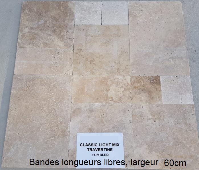 Travertin Classic Light Mix EN BANDES LONGUEURS LIBRES LARGEUR 60cm