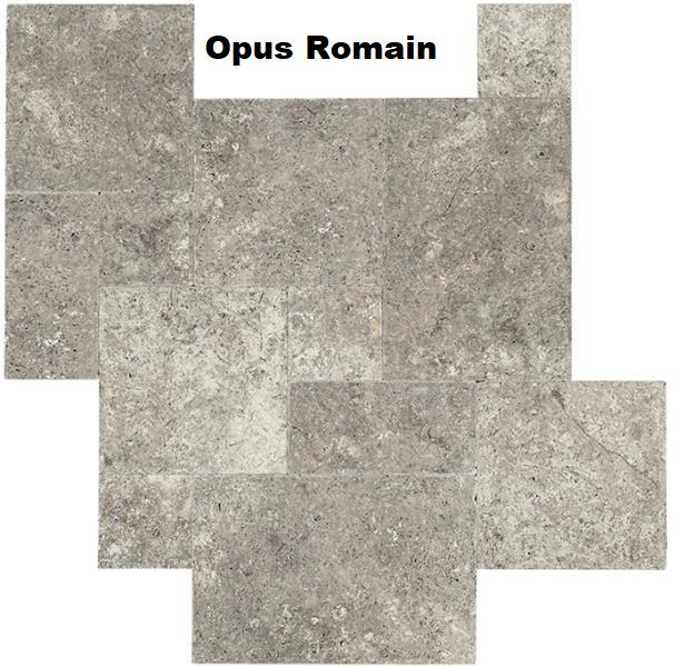Travertin gris silver opus romain