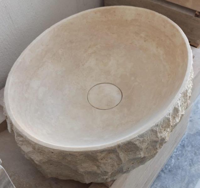 Vasque Travertin avec bonde en pierre