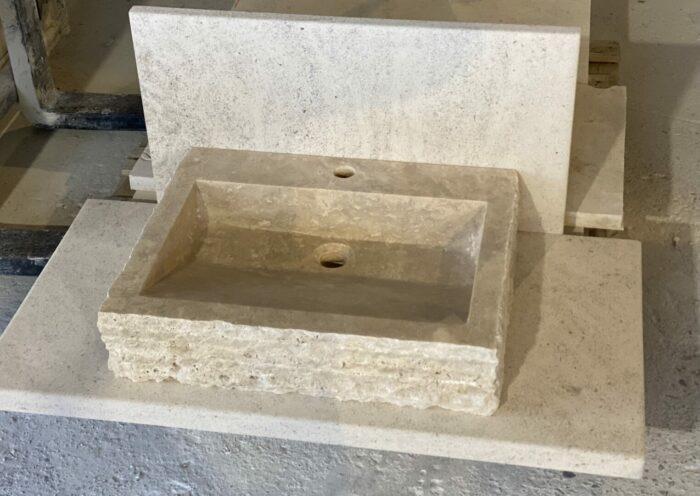 Vasque Travertin pierre naturelle GRAND LUNEL avec trou robinetterie