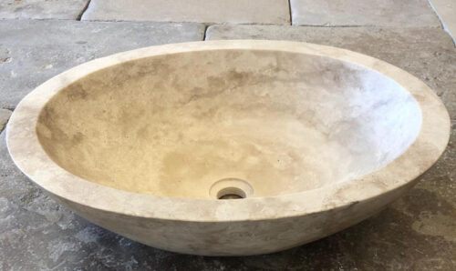 Vasque bol ovale Travertin