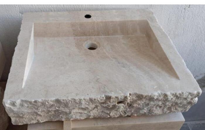 Vasque évier pierre naturelle travertin