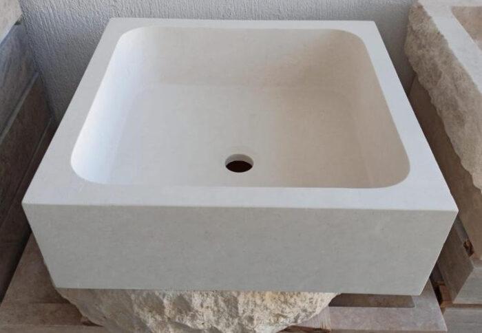 Vasque pierre beige claire unie