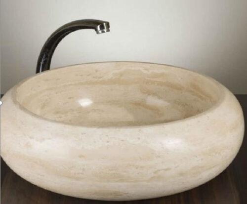 Vasque travertin ronde galbée