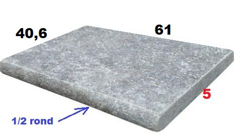 margelle 61cm gris silver épaisseur 5cm
