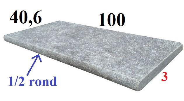 Margelle chant boudin 100x40,6x3cm en travertin gris silver
