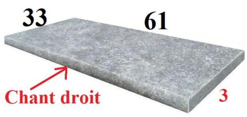 margelle chant droit 61x33x3cm en travertin gris silver