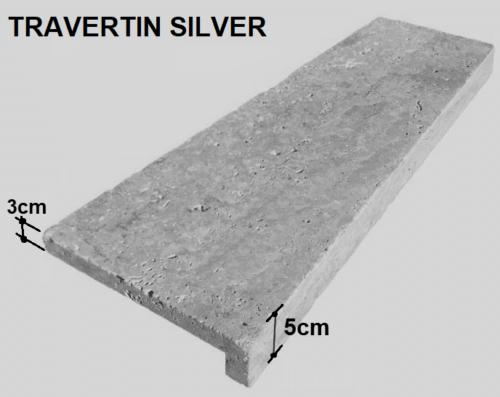 """Margelle décaissée, évidée en """"L"""" Travertin gris silver, épaisseur 5cm"""